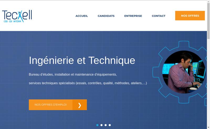 Capture d'écran du site de Tecxell Interim