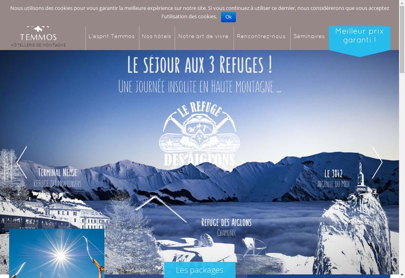 Capture d'écran du site de Temmos Hotels