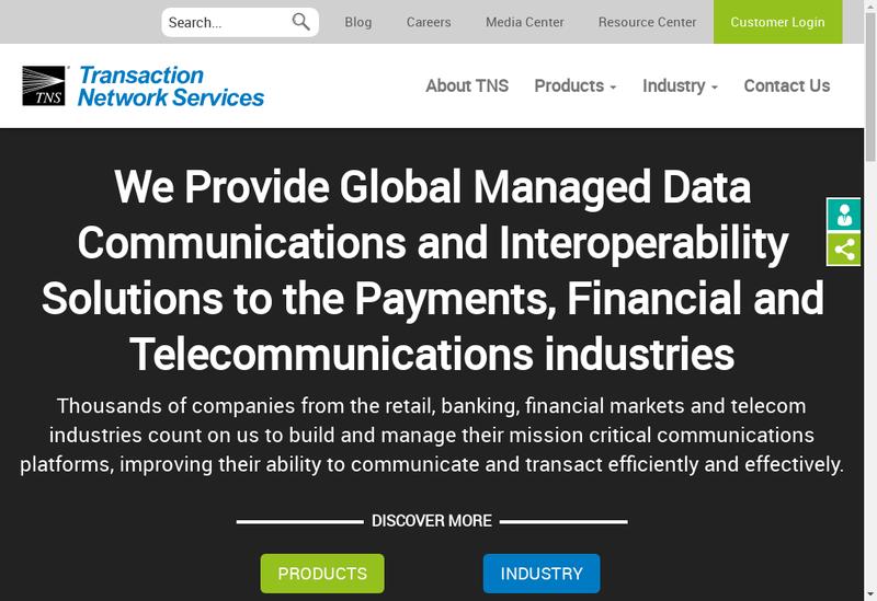 Capture d'écran du site de Transaction Network Services
