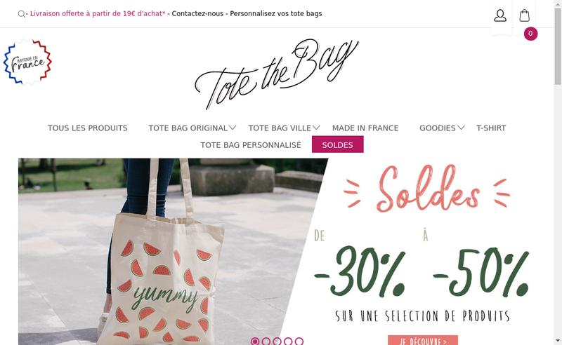 Capture d'écran du site de Tote The Bag