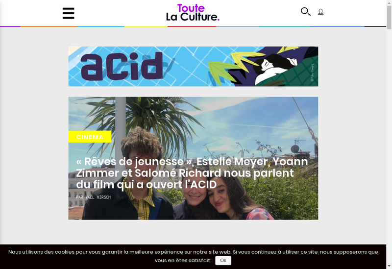 Capture d'écran du site de Toute la Culture