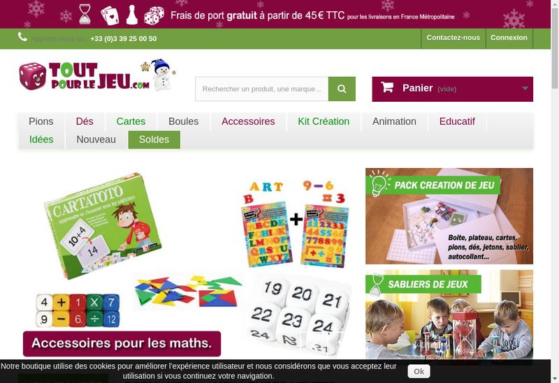 Capture d'écran du site de Tout Pour le Jeu