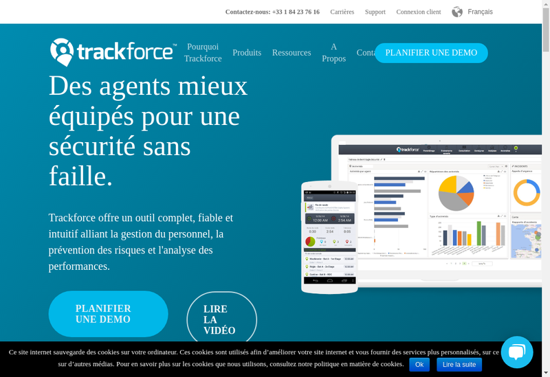 Capture d'écran du site de Trackforce