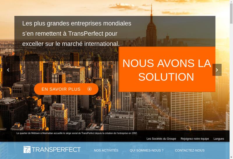 Capture d'écran du site de Transperfect Traductions
