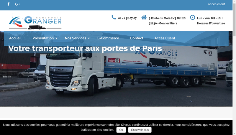 Capture d'écran du site de Transports Granger