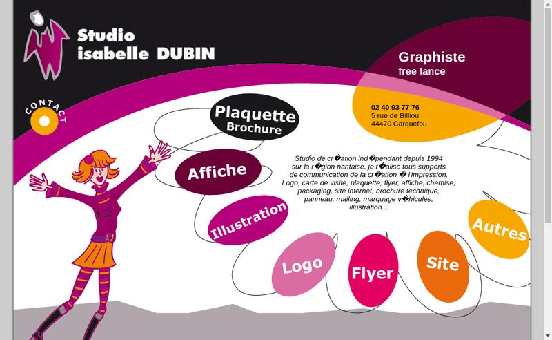 Capture d'écran du site de Studio Dubin Isabelle
