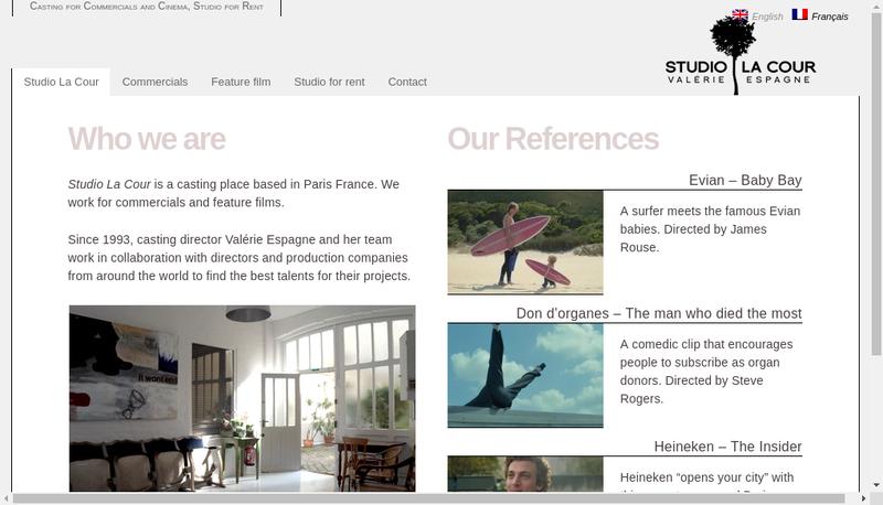 Capture d'écran du site de Studio la Cour