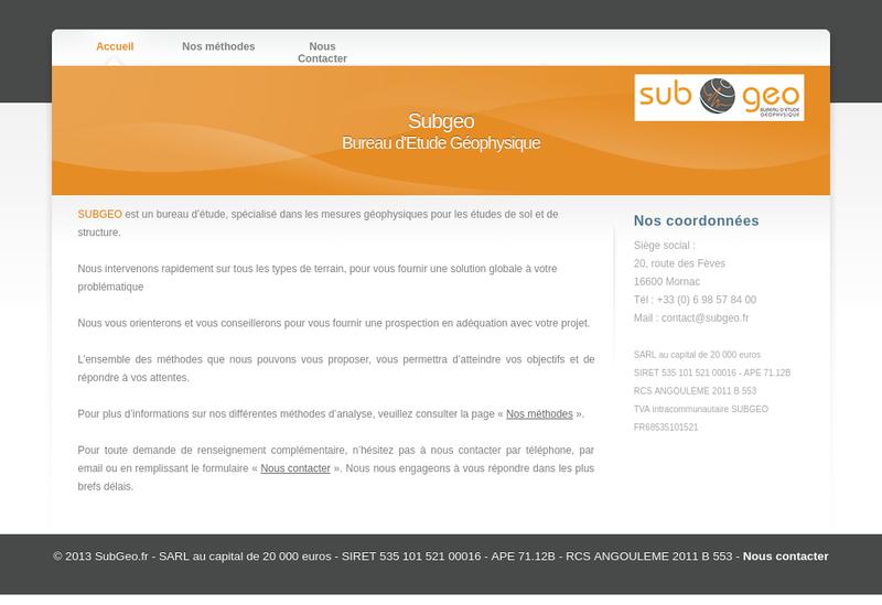 Capture d'écran du site de Subgeo