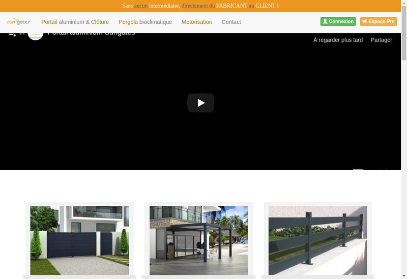 Capture d'écran du site de Sungates