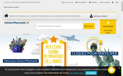 Site internet de Univers Pharmacie