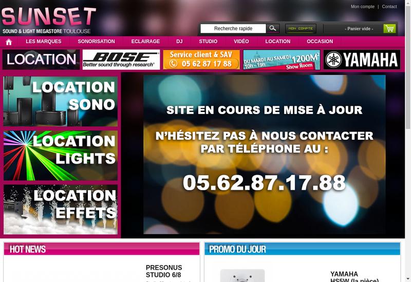 Capture d'écran du site de Sunset Music
