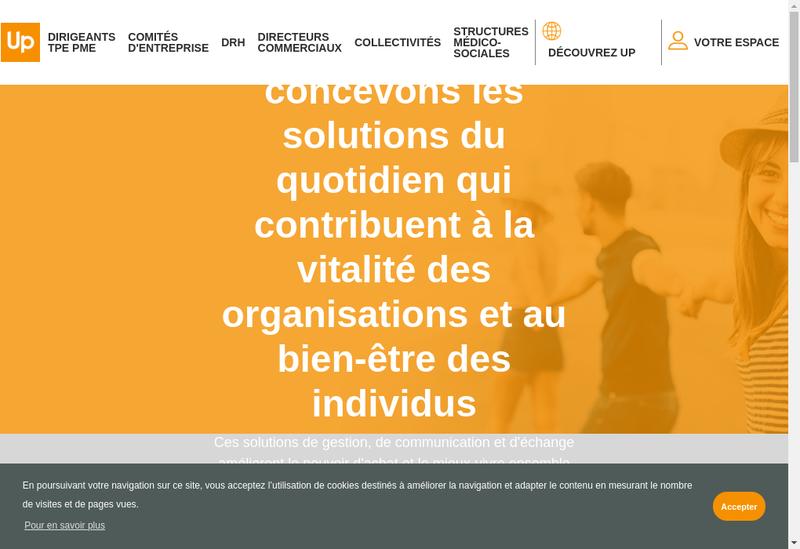 Capture d'écran du site de Domicile-Up-Le Cheque Dejeuner