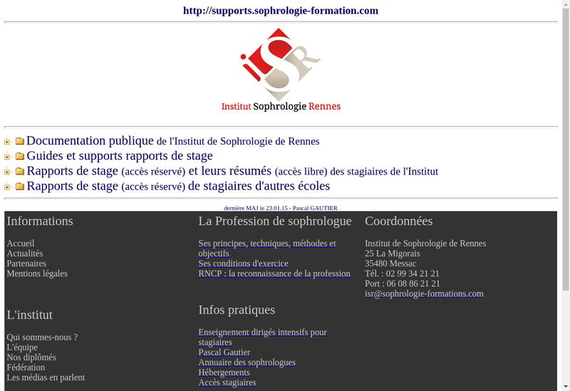 Capture d'écran du site de Institut de Sophrologie Rennes