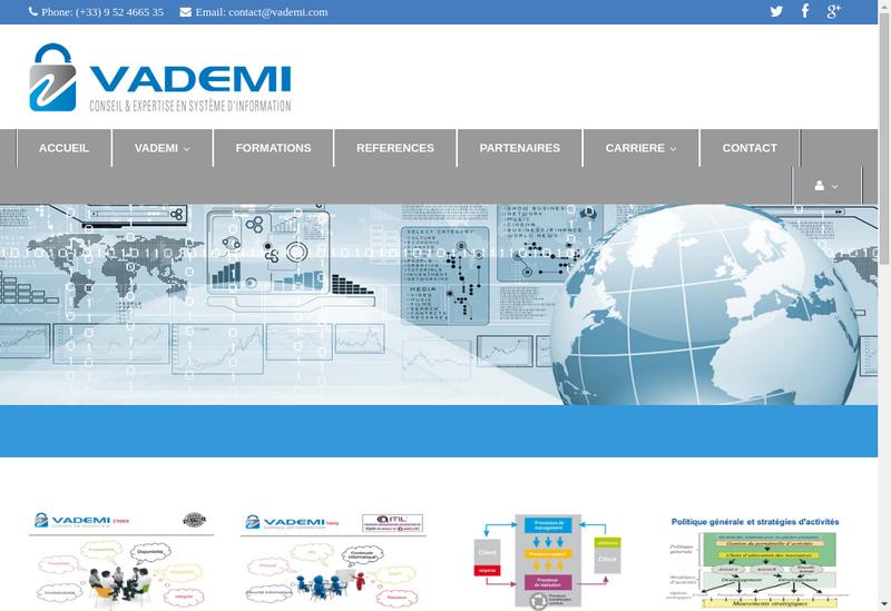 Capture d'écran du site de Vademi