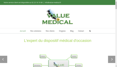 Capture d'écran du site de Value Medical