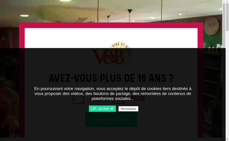 Capture d'écran du site de V And B