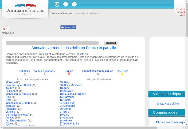 Capture d'écran du site de Verrerie Industrielle des Ardennes