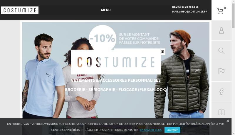 Capture d'écran du site de Costumize