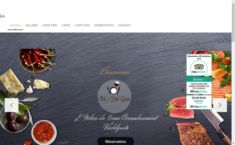Capture d'écran du site de Via Del Gusto