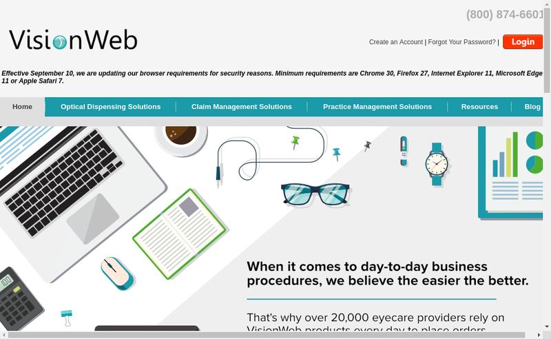 Capture d'écran du site de Vision Web Network