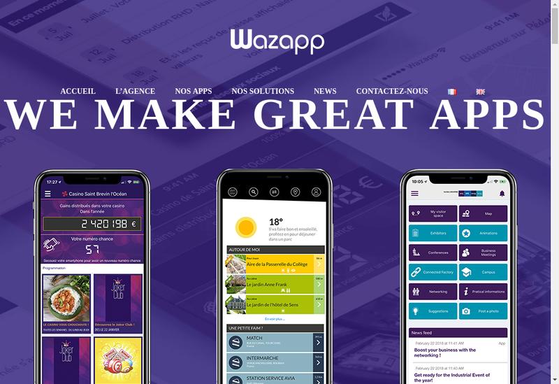 Capture d'écran du site de Wazapp