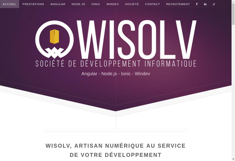 Capture d'écran du site de Wisolv