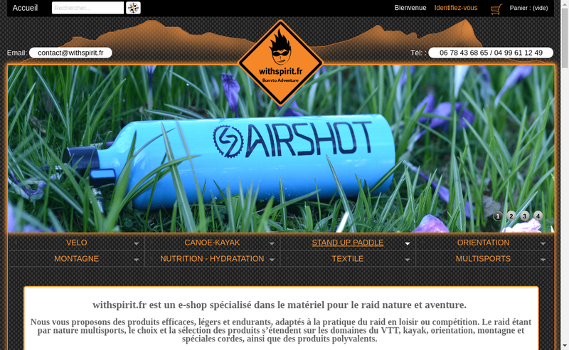 Capture d'écran du site de With Spirit