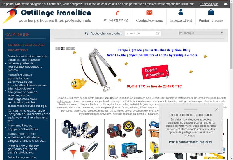 Capture d'écran du site de Outillage Francilien