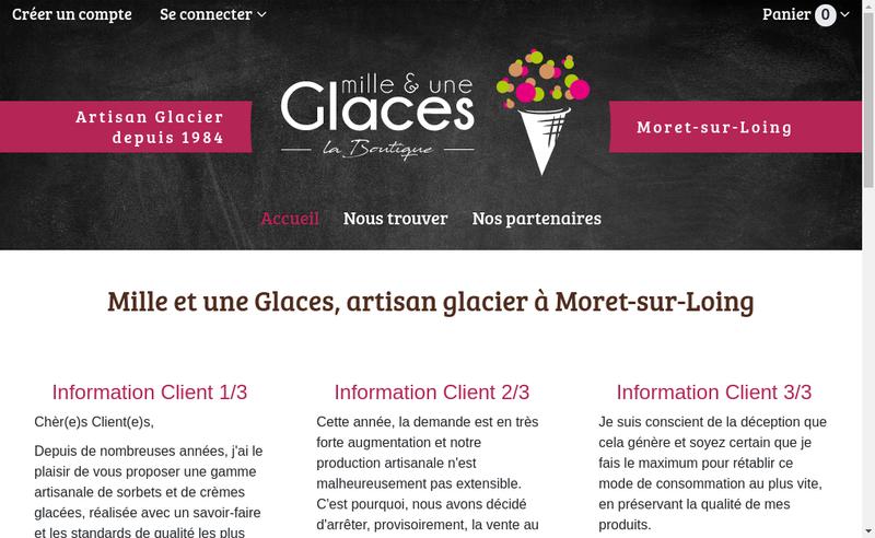 Capture d'écran du site de Mille et une Glaces