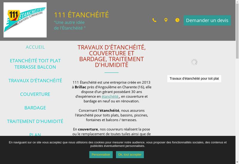Capture d'écran du site de 111 Etancheite