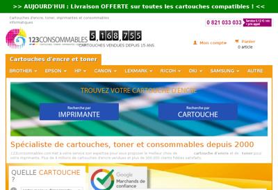 Capture d'écran du site de 123 Consommables