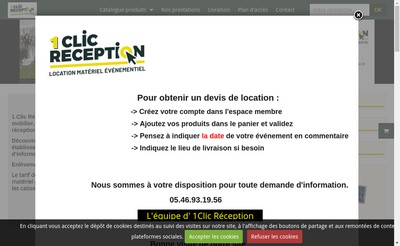 Site internet de 1 Clic Reception