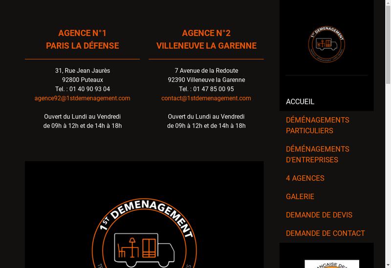 Capture d'écran du site de First Demenagement