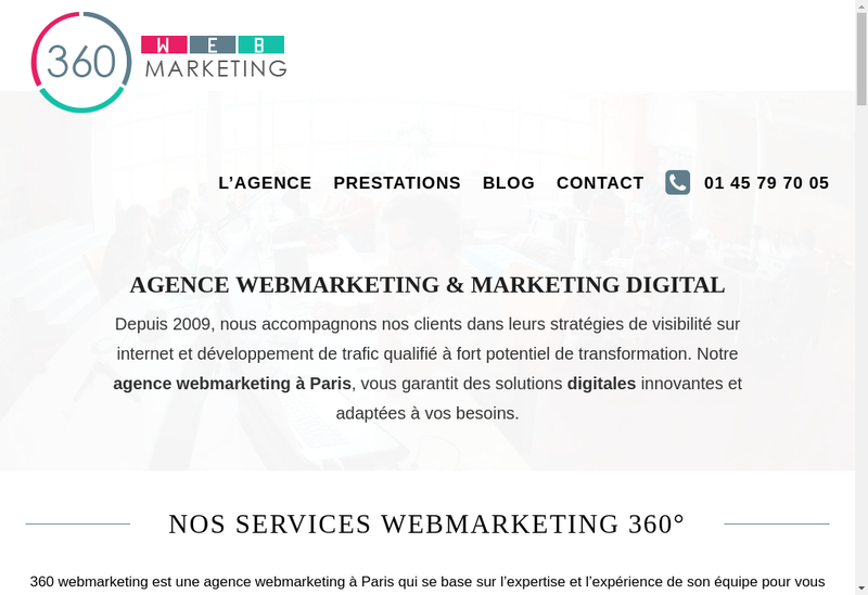 Capture d'écran du site de 360 Webmarketing