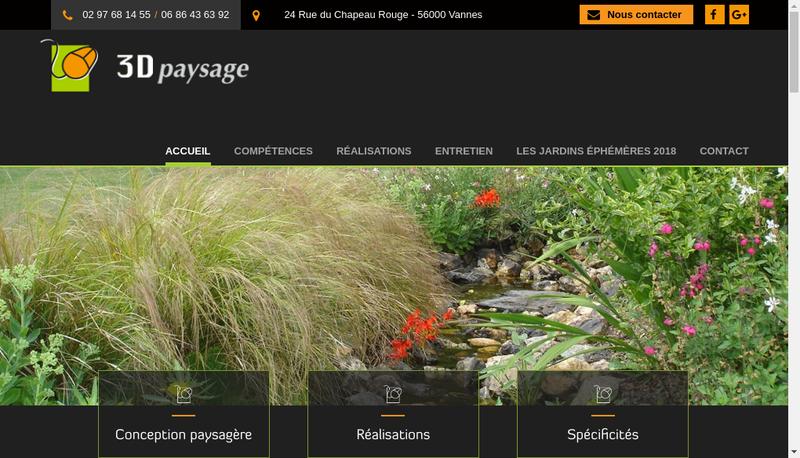 Capture d'écran du site de 3D Paysage