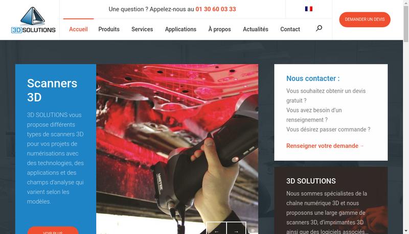 Capture d'écran du site de 3D Solutions