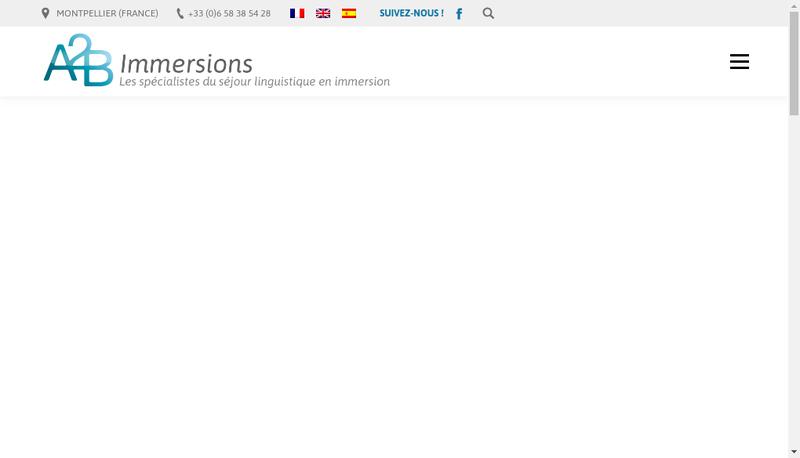 Capture d'écran du site de A2B Immersions