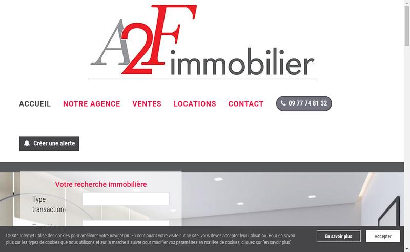 Capture d'écran du site de A2F Immobilier