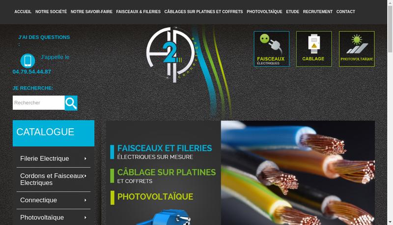 Capture d'écran du site de A2P Connectique