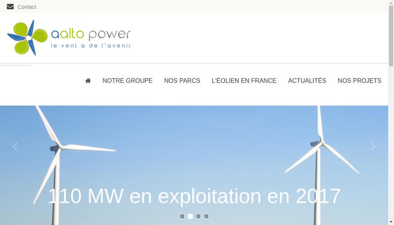 Capture d'écran du site de Aalto Power