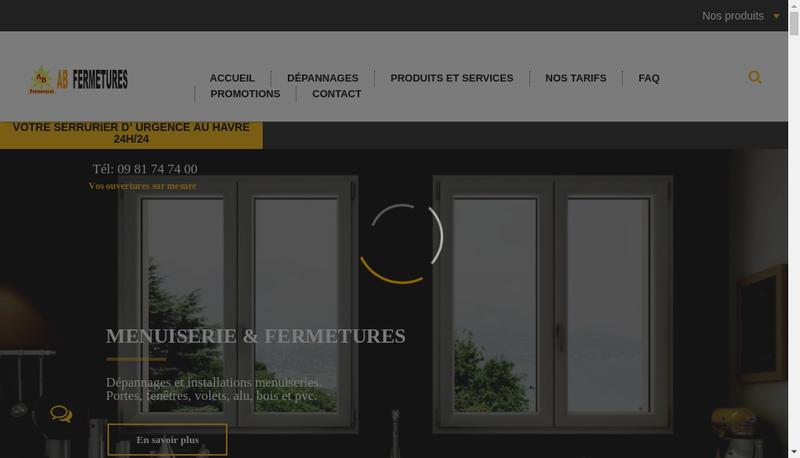 Capture d'écran du site de AB Fermetures Le Havre
