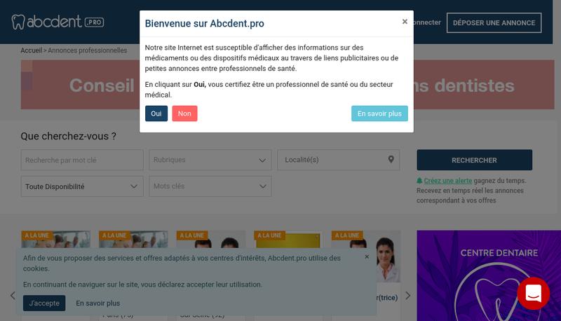 Capture d'écran du site de SARL Abcdent