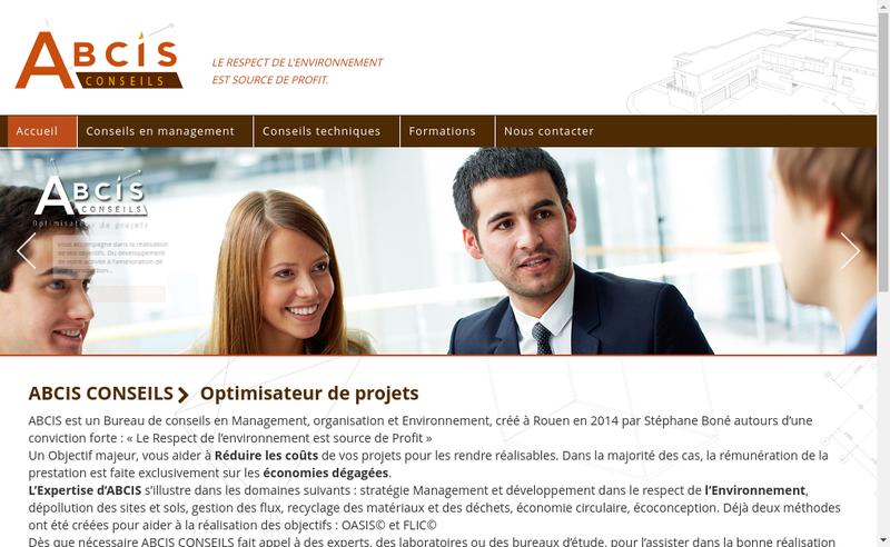 Capture d'écran du site de Abcis Conseils