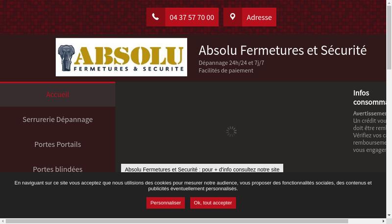Capture d'écran du site de Accueil Serrurerie du Marais