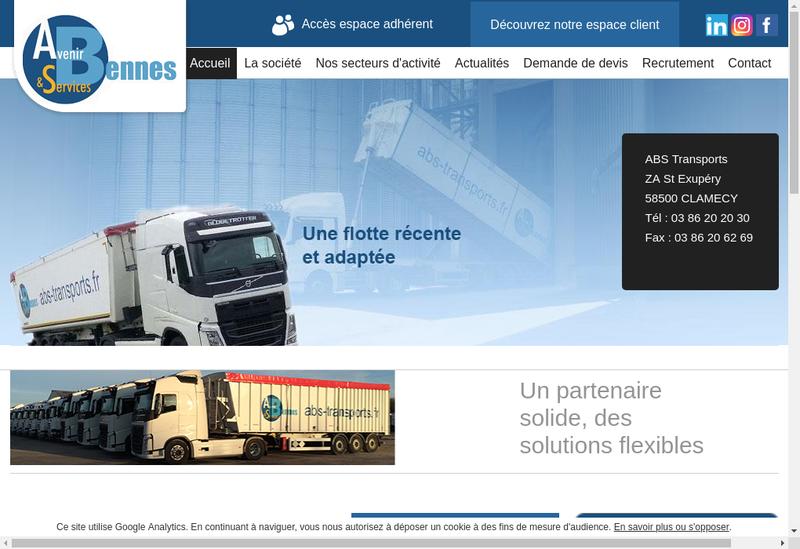 Capture d'écran du site de Avenir Bennes et Services