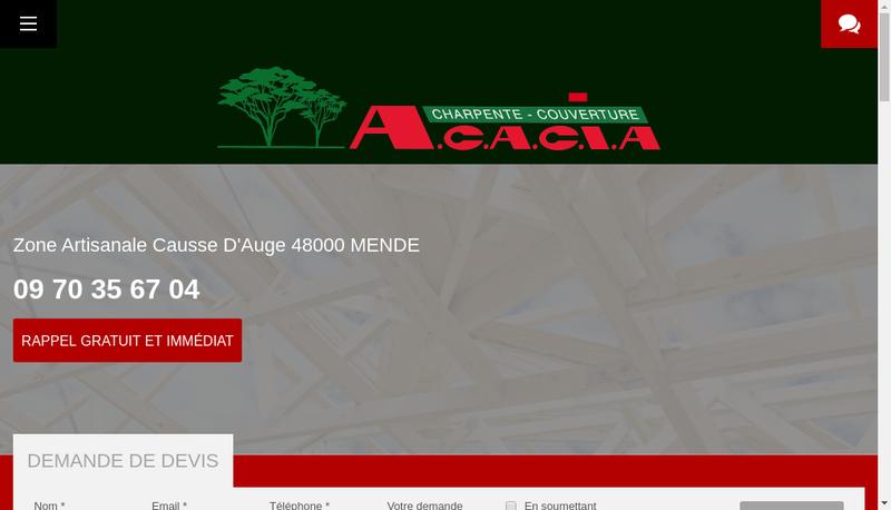 Capture d'écran du site de Acacia