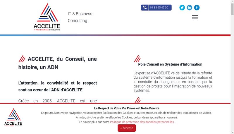 Capture d'écran du site de Accelite