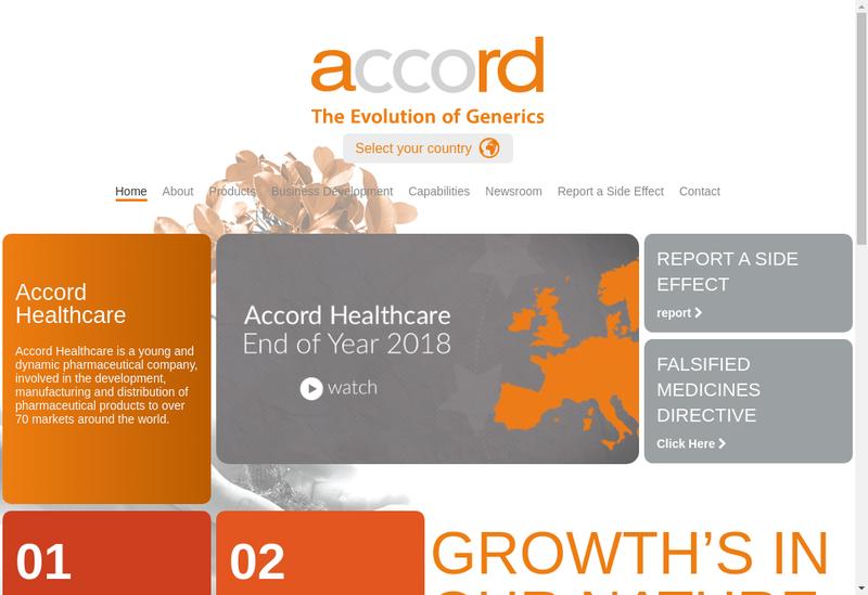 Capture d'écran du site de Accord Healthcare France SAS