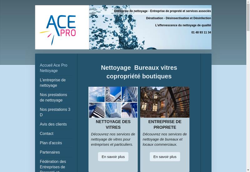 Capture d'écran du site de Ace Pro