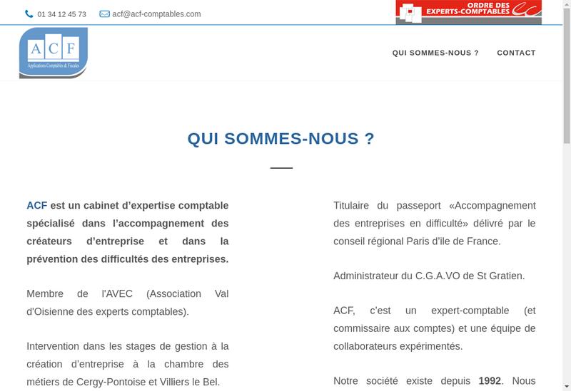 Capture d'écran du site de ACF